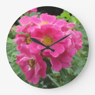 Pink Flower Clock with Lush Green Background