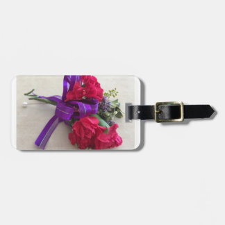 Pink flower corsage luggage tag