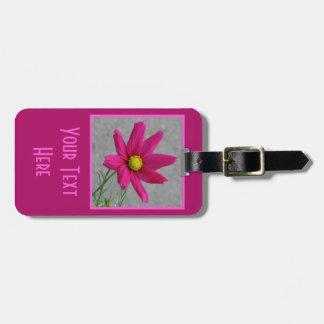 Pink Flower custom luggage tag