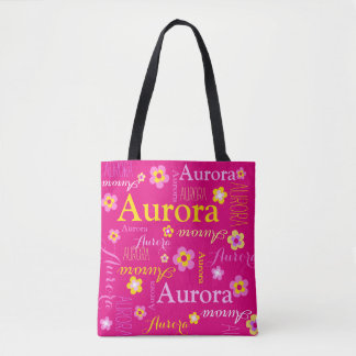 Pink flower custom name Aurora art tote bag