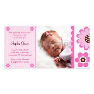 Pink Flower Custom Photo Birth Announcements