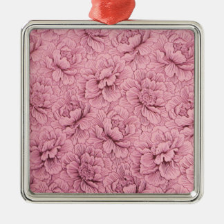 Pink Flower design for Premium-Square-Ornament Metal Ornament