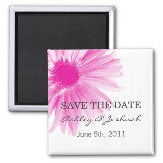 Pink Flower Design Wedding Save The Date Magnets