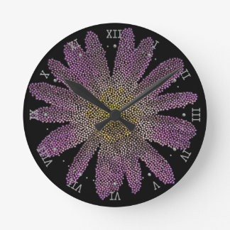 pink flower ( digital image ) round clocks