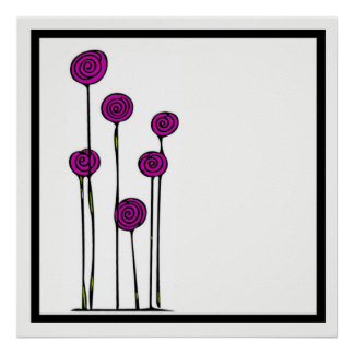 Pink Flower Drawing Poster