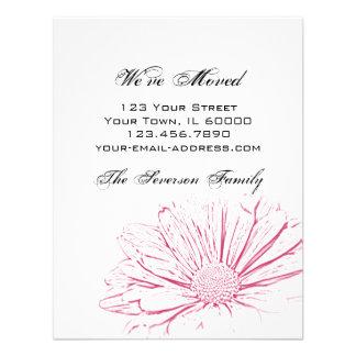 Pink Flower Effect Change of Address Custom Invite