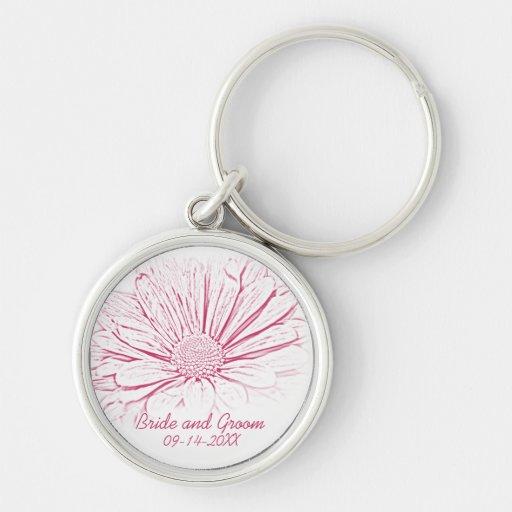Pink Flower Effect Wedding Keychain