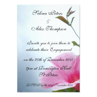 Pink Flower Engagement Invitation