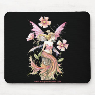 Pink Flower Fairy Art Mouse Pad