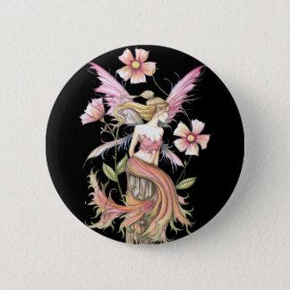 Pink Flower Fairy Art Pinback Button