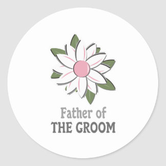 Pink Flower Father of the Groom  Classic Round Sticker