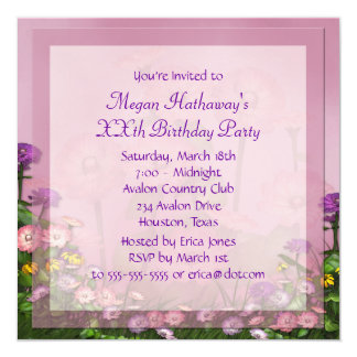 Pink Flower Field Any Number Birthday Template Card