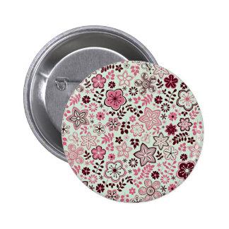 Pink flower floral design 2 inch round button