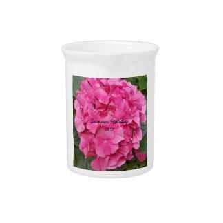 Pink Flower Floral Photography Nature Beverage Pitcher