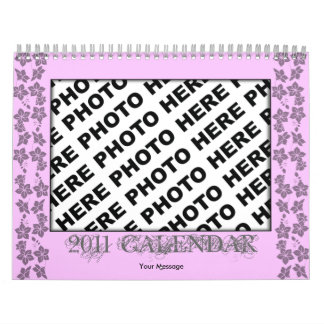 Pink Flower Frame Add Photo Calendar 2011 Template