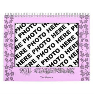 Pink Flower Frame Add Photo Calendar 2011 Template