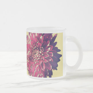 Pink Flower Frosted Glass Coffee Mug