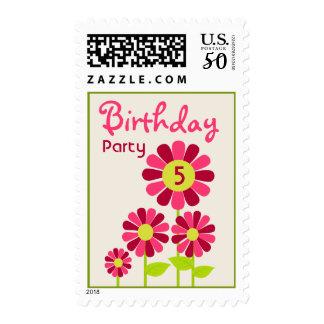 Pink Flower Garden Birthday Party Postage