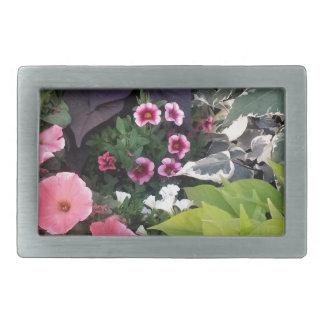 Pink Flower Garden Rectangular Belt Buckle