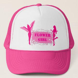 Pink flower girl bachelorette party trucker hat