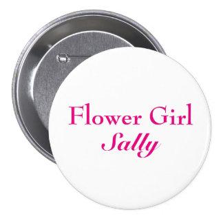 Pink Flower Girl Button