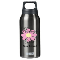 Pink Flower Girl Insulated Water Bottle