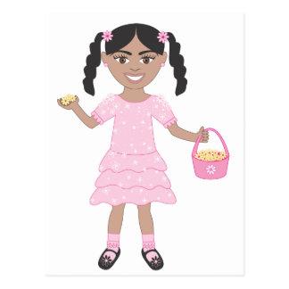 Pink Flower Girl Postcard