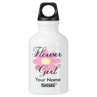 Pink Flower Girl Water Bottle