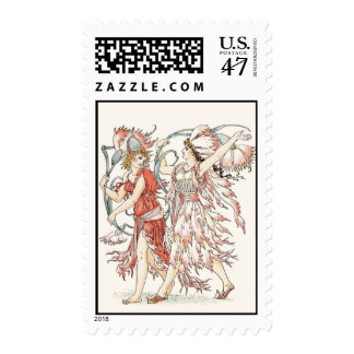 Pink Flower Girls Postage Stamp