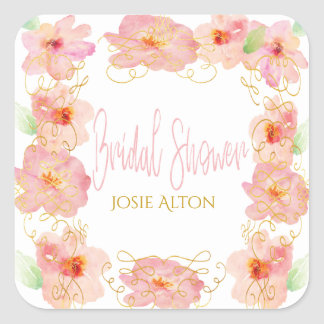 pink flower gold swirl bridal shower template square sticker
