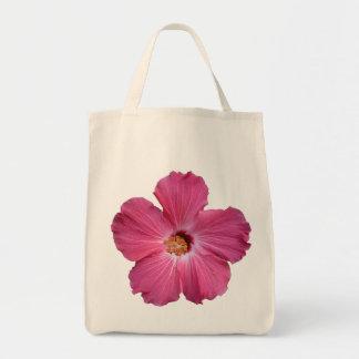 Pink Flower Grocery Tote Bag