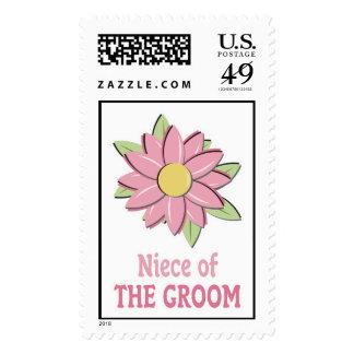 Pink Flower Groom Niece Postage Stamp