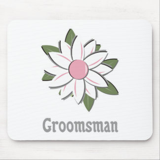 Pink Flower Groomsman Mouse Pad