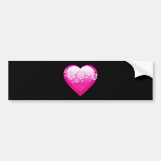 Pink Flower  Heart Bumper Sticker