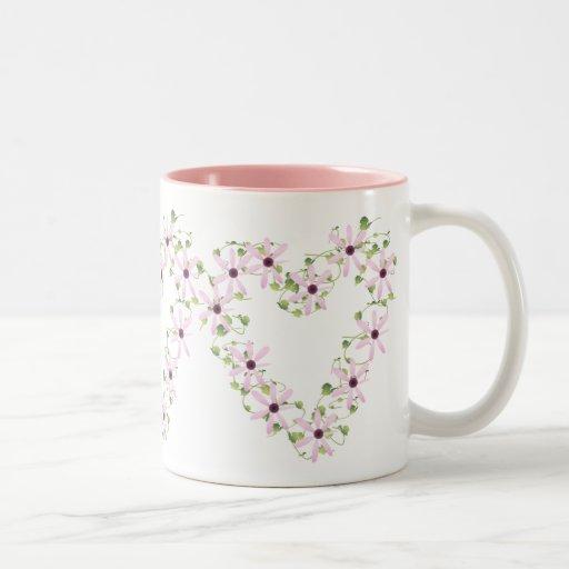 Pink Flower Heart Mug