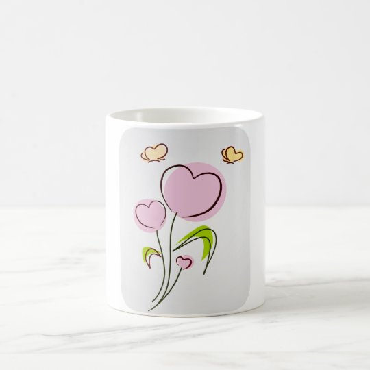 Pink Flower Hearts and Butterflies Coffee Mug