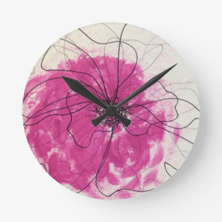 Pink flower highlighted with black ink clock