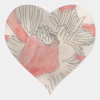 Pink Flower Illustration Heart Sticker