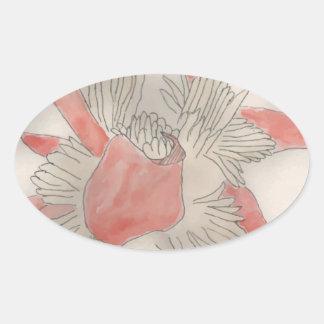 Pink Flower Illustration Oval Sticker