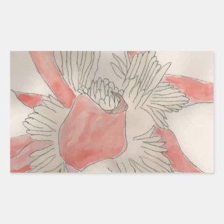 Pink Flower Illustration Rectangular Sticker