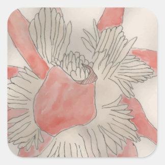 Pink Flower Illustration Square Sticker