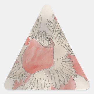 Pink Flower Illustration Triangle Sticker