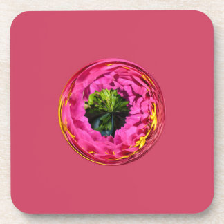 Pink flower in crystal globe beverage coasters