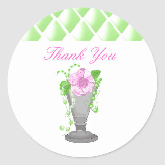 Pink Flower in Vase Thank You Sticker