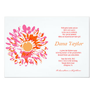 Pink Flower Jewish Baby Naming Invitation Hebrew