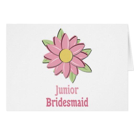 Pink Flower Junior Bridesmaid Cards