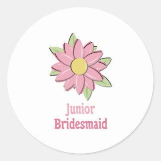 Pink Flower Junior Bridesmaid Classic Round Sticker