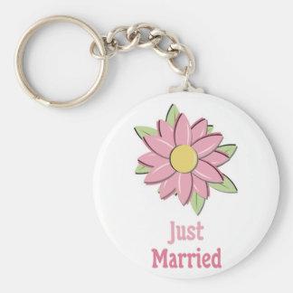 Pink Flower Just Married Keychain