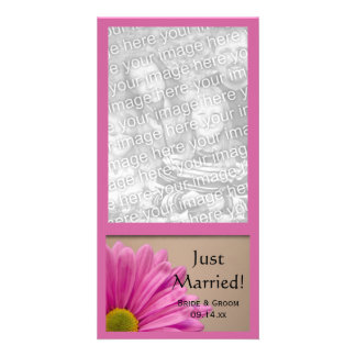 Pink Flower Just Married Wedding Photo Card