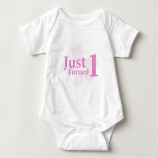 Pink Flower: Just Turned One Baby Bodysuit